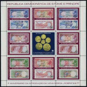 St Thomas & Principe 495-6 MNH New Currency, Bank Notes, Coins on Stamps