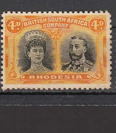 RHODESIA, KGV, 1910 DOUBLE HEAD, 4d VALUE, MOUNTED MINT