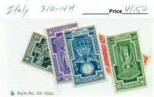 ITALY #310-14, Mint Hinged, Scott $41.50