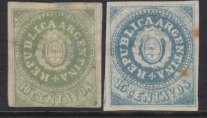 ARGENTINA  2 old forgeries of a classic stamp...............................4876