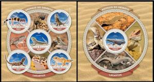 Guinea Bissau 2016 fauna lizards reptiles klb + s/s MNH