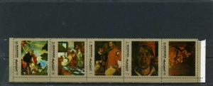 MANAMA 1972 Mi#958-D959A FAMOUS PAINTINGS STRIP OF 5 STAMPS PERF. MNH