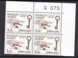 Greenland Sc 155 1984 5.5 kr Key stamp corner number block of 4 mint NH