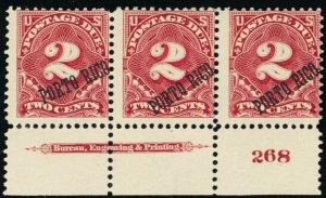 Puerto Rico #J2, Mint OG PL# & Imprint Strip of 3 Diff Ovpt Degrees Stuart Katz