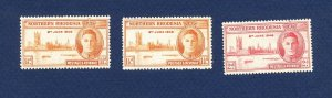 NORTHERN RHODESIA - 46, 46a & 47 - VF MNH - Peace - 1946