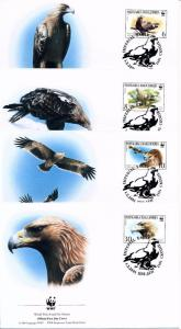 [53588] Macedonia 2001 Birds Vögel Oiseaux WWF FDC Imperial Eagle 4 covers