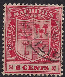 Mauritius 1910 KGV 6ct Carmine Red used SG 186 ( G359 )