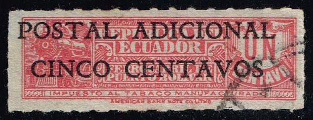 Ecuador #RA44 Overprint on Tobacco Stamp; used (0.25)
