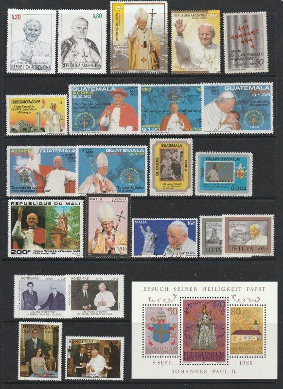World a selection of Pope John Paul 2 MNH