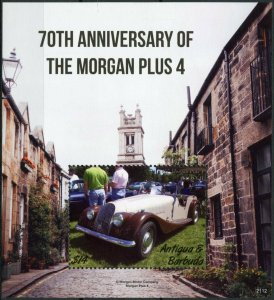 Antigua & Barbuda Cars Stamps 2021 MNH Morgan Plus 4 70th Anniv 1v S/S
