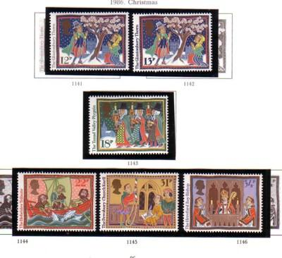 Great Britain Sc 1162-67 1986 Christmas stamp set mint NH