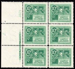 US E7 10c Special Delivery L Side Plate #4921 Block of 6 Mint VF OG LH SCV $1075