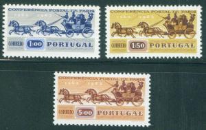 Portugal Scott 906-8 MNH** 1963 coach stamp set