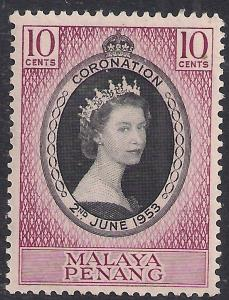 Malaya Penang 1953 QE2 10ct Coronation MM SG 27 ( R1187 )