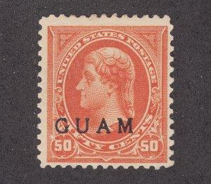 Guam Sc 11 MLH. 1899 50c orange Thomas Jefferson w/ GUAM ovpt, VLH