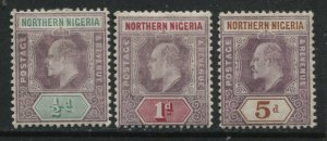 Northern Nigeria KEVII 1906-07 3 values on chalky paper mint o.g. hinged