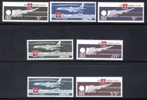 C2-C8 Malta, Air Post Stamp Set, 1975, Winged Emblem, Jet over Valletta, MNHOG