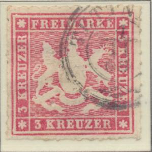 Wurttemberg Stamp Scott #42, Used - Free U.S. Shipping, Free Worldwide Shippi...