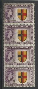 Sarawak 1955, Sg 202, $5 Multi-Coloured Block of 4, Fine used. [1454]