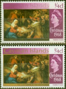 Cayman Islands 1969 1/4d Brt Purple SG221var Gold Partially Omitted V.F MNH