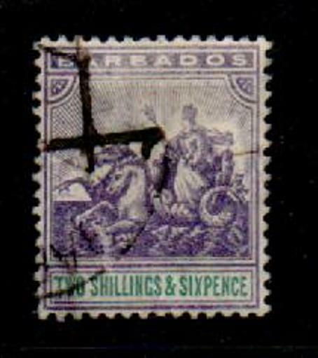 BARBADOS SG144 1905 2/6 VIOLET & GREEN USED