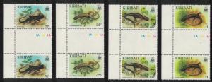 Kiribati Skinks 4v Gutter Pairs SG#274-277 SC#491-494