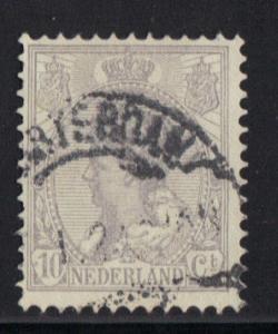 Netherlands  1899  used  Wilhelmina 10 ct grey  #