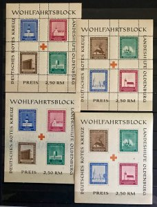 Post WWII Locals: Oldenburg 4 MNH Souvenir Sheets 1948