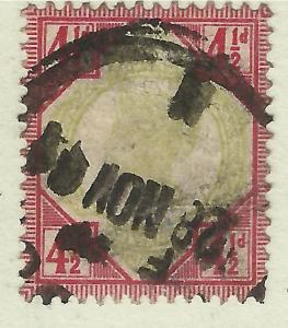 GB 1892 QV 4 1/2d Jubilee Used Stamp  ( 20 )