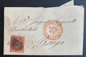 1853 Barcelona Spain Letter Sheet cover To Berga