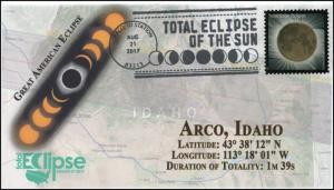 17-235, 2017, Total Solar Eclipse, Arco ID, Event Cover, Pictorial Cancel,