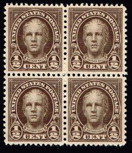 US STAMP #653 – 1929 1/2c Nathan Hale, olive brown MNH BLK OF 4