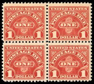 momen: US Stamps #J77 Block of 4 Mint OG NH CV $280