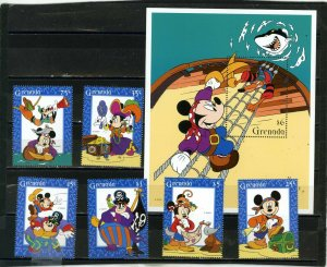 GRENADA 1995 DISNEY MICKEY'S HIGH SEA ADVENTURE SET OF 6 STAMPS & S/S MNH