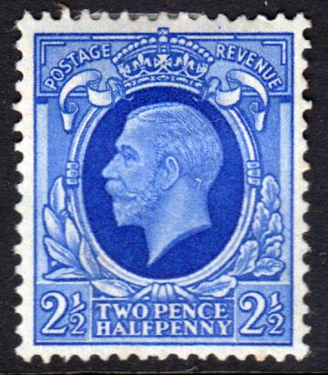 GB KGV 1934 2.5d Bright Blue SG443 Mint Hinged