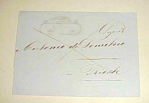 CRETE CEPHALONIA 1853  STAMPLESS  B/S TRIESTE
