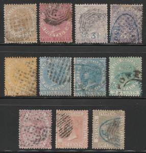 MALAYA Straits Settlements 1867 QV Set 11V + Shades Crown CC Used CV£268 MA1256