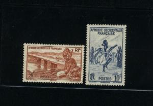 French West Africa  2 different  Mint  PD  .10