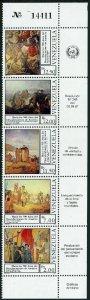 Venezuela 1395 ae strip,MNH. Discovery of America 500th Ann.Paintings,1987.