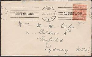 AUSTRALIA 1921 GV 2d on cover CAIRNS QUEENSLAND continuous machine cancel..57264