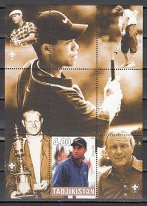 Tadjikistan, 2000 Cinderella issue. Golfer Tiger Woods s/sheet.