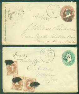 1880's, 2¢ & 3¢ envelopes tied MOORESTOWN PA - one with Postage Dues (J1)