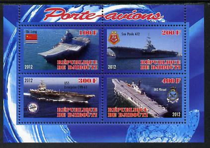 Djibouti 2012 Aircraft Carriers #3 perf sheetlet containi...