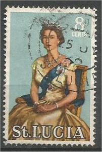 ST. LUCIA, 1964, used 8c Queen Elizabeth Scott 187