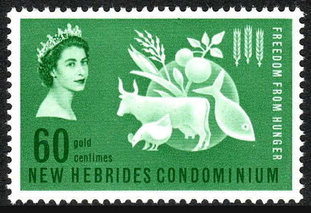 New Hebrides,British 93,MNH.FAO.Freedom from Hunger campaign.Protein Food,1963