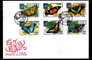 Cambodia Scott 2073-2078 Butterfly First day Cover, FDC 2001