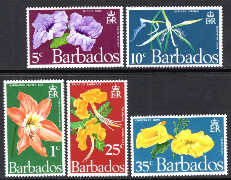 Barbados 348-352 Flowers MNH VF