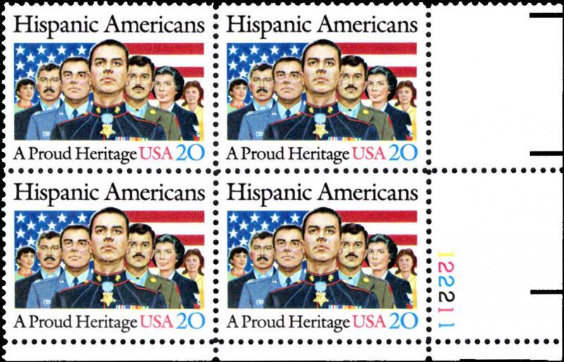 US Scott # 2103 20c Hispanic Americans MNH Plate Block of 4 CV: $2.90