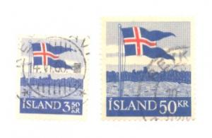 Iceland Sc 313-14 1958 flag stamps used