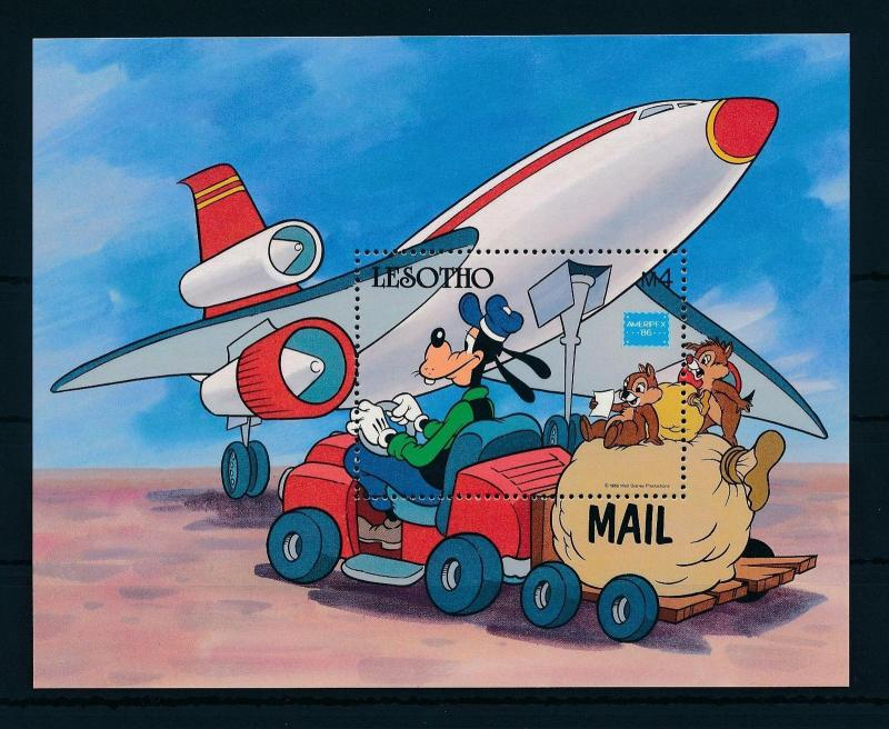 [22300] Lesotho 1986 Disney Goofy and mail plane MNH